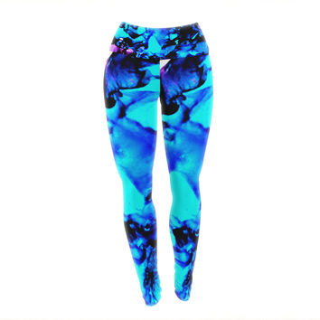 "Claire Day ""Peace Offering"" Blue Aqua Yoga Leggings"
