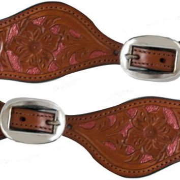 Pink Painted Leather Spur Straps