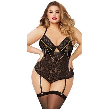 Sexy Trina Plus Size Floral Lace and Chain Snap Crotch Gartered Teddy