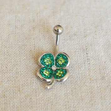 bellybutton ring four leaf clover belly ring 14g clover navel ring,lucky belly ring
