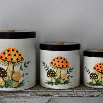 Adorable Vintage Kitchen Canisters Storage Set - Kitchen Tins - Mushrooms - Retro Brown Yellow White Green