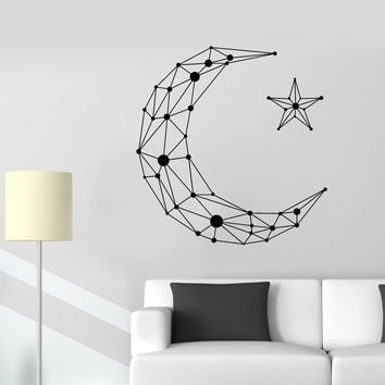Vinyl Wall Decal Geometric Moon Star Art Decor Room Decoration Stickers Unique Gift (1392ig)