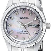 Armitron Women's 75/2475PMSV Swarovski Crystal Accented Silver-Tone Pink Mother-of-Pearl Dress Watch