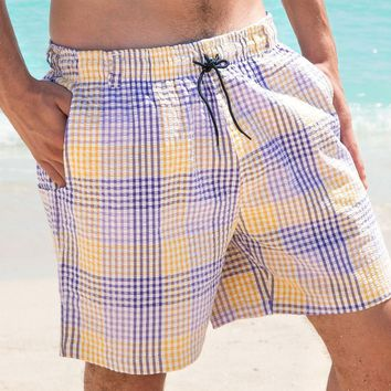 Dockside Swim Trunk in Purple and Gold Seersucker Gingham by Southern Marsh