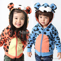 New Unisex Baby Kids Cotton Blended Fleeces leopard print long sleeve Hoodies Sweatshirt Coat Clothing For Spring/Autumn/Winter