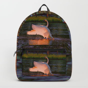 Swan Sun Salutation Backpack by Lena Owens/OLenaArt