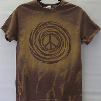 Peace Sign T Shirt Made to Order, Acid Wash Bleach Tie Dye Brown Cosmic Galaxy Mens Womens Unisex All Sizes S M L XL 2XL