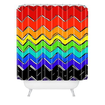 Sharon Turner Rainbow Chevron Shower Curtain