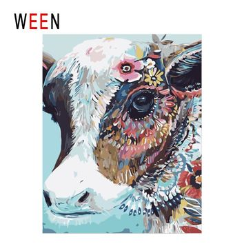 WEEN Colorful Cow Diy Painting By Numbers Abstract Oil Painting On Canvas Animal Cuadros Decoracion Acrylic Wall Art Home Decor