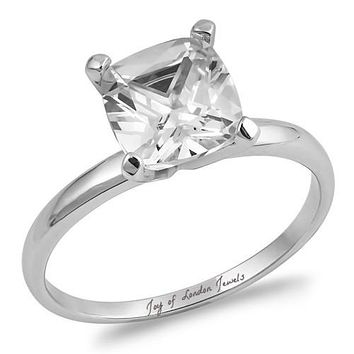 A Perfect 1CT Asscher Cut Solitaire Russian Lab Diamond Engagement Ring