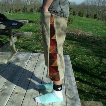 Patchwork Corduroy Shorts Tan Dark Red Brown Pants Hippie Handmade Festival Heady  Kynd Valley Mens 34