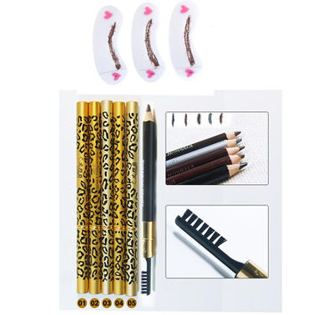 1 PC Double-use Waterproof Brown Black Leopard Cosmetic Makeup Eyebrow Pencil Pen With Brush +4pcs/set Grooming Eyebrow Stencil