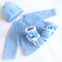 Blue Newborn Outfit, Baby Gift Set, Hand knitted Baby Set, Baby Clothing. Blue Newborn Outfit - jacket, baby booties and hat