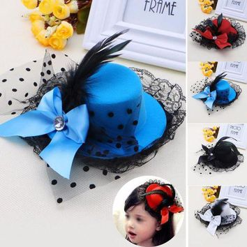 CUPUP9G Women Girl Bow Hair Clip Lace Feather Mini Top Hat Fascinator Fancy Party Dress