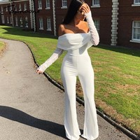 Tobinoone Off The Shoulder Casual Jumpsuit Autumn Winter Sexy Jumpsuit Overalls Women Long Sleeve Club Party Vacation Rompers
