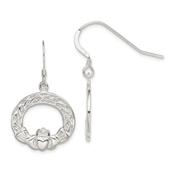 925 Sterling Silver Celtic Knot Claddagh Earrings