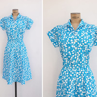 1970s Dress - Vintage 70s Turquoise & White Cotton Dress - Su Nel Cielo Dress
