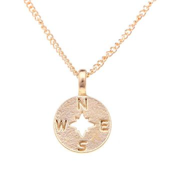 10 PCS Hot Selling Gold Circular Compass Pendant Classic Snake Chain Pendant Necklace Hand Stamped Fashion Necklace Jewlery