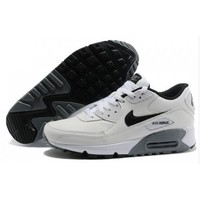 Men s Women s Nike Air Max 90 Leather Shoes White Black