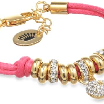 "Juicy Couture ""Delivery 1 Key Items"" Hot Pink Pave Heart Corded Bracelet, 7.5"""