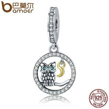 Authentic 925 Sterling Silver Owl Story Owl & Moon Animal Dangle Charms fit Women Charm Bracelets Jewelry Gift SCC254