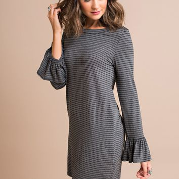 Be With Me Striped Dress (Charcoal)