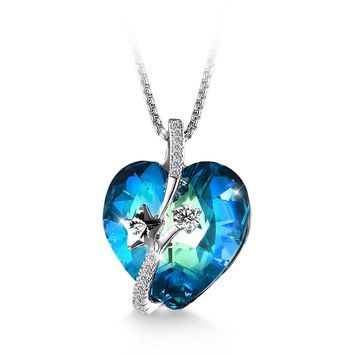 "Jewelers ""Shooting Star"" Heart Swarovski Elements Crystal Pendant Necklace Love Gift"