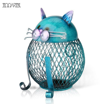 Tooarts Cat Coin Box Piggy bank Animal ornament Creative ornament Iron art ornament Handcrafts Interior Art Home decoration
