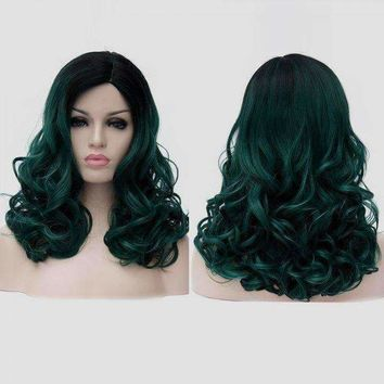 Medium Side Parting Fluffy Colormix Curly Synthetic Party Wig - Blackish Green | Fwresh Beauty