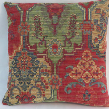 "Colorful Chenille Tapestry Pillow, 17"" Sq, Red Green Blue Gold , Moroccan Medallion, Carpet Style,  Ready Ship"