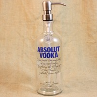 Soap/Lotion Pump Upcycled From Absolut Vodka Bottle, Recycled Liquor Bottle, Kitchen Soap Pump, Bathroom Soap Dispenser, Bar Ware