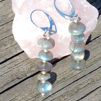 labradorite beaded dangle earrings with sterling silver lever back clasps
