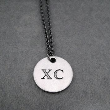 XC Round Pendant Necklace - Pewter pendant priced with Gunmetal Chain