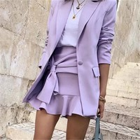 Autumn new purple small suit loose long suit collar casual jacket female