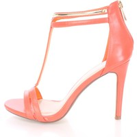 Coral High Polish T Strap Single Sole Heels Faux Leather