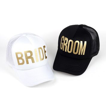 BRIDE GROOM - Gold Cute, Graphic, Cool Baseball Cap with Breathable Mesh - Wedding Party Hat
