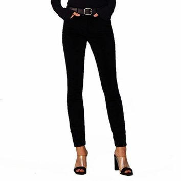 3 x 1 W3 High Rise Channel Seam Skinny Black Velveteen Jeans