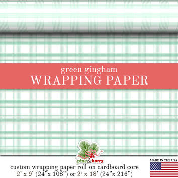 Green Gingham Wrapping Paper | Custom Green Gingham Plaid Gift Wrap Matte Finish Available In 2 Sizes For Any Occasion. Made In The USA