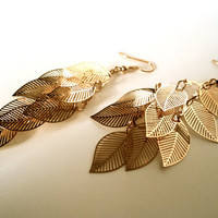 Gold Metal Leaf Earrings by Lunarpearl on Etsy
