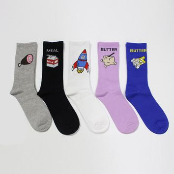 Funny Korean Harajuku Women and Men Cartoon in Tube Socks Funny milk Chicken legs butter Pattern Socks Cotton Sock