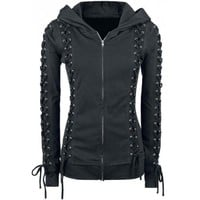 Wholesale Chic Hooded Long Sleeve Lace-Up Zippered Hoodie For Women (BLACK,XL), Hoodies & Sweatshirts - Rosewholesale.com