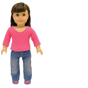 Doll Clothes Fits American Girl & Other 18 Inch Dolls Long Sleeve & Pants Outfit