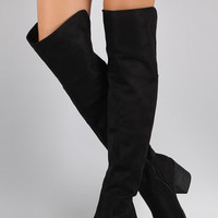 Bamboo Suede Folded Cuff Chunky Heeled Riding Boots