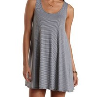 Black Combo Striped Trapeze Tank Dress by Charlotte Russe
