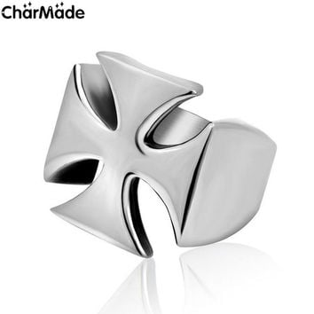 Drop Ship Big Iron Maltese Cross Men Ring 316L Stainless Steel Biker Jewelry Christian Accessory Rings For Man Male Anel R508