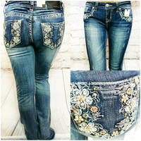 GRACE IN L.A. FLORAL DREAMS BOOTCUT JEANS