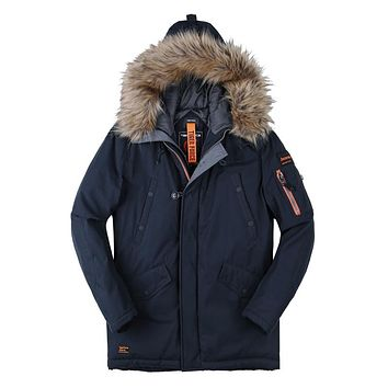 Men Padded Parka Winter Coat Mens Fashion Casual Coat Jacket Thick Parkas Artificial Fur Russian