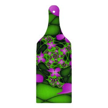 Modern Abstract Neon Pink Green Fractal Flowers Cutting Board