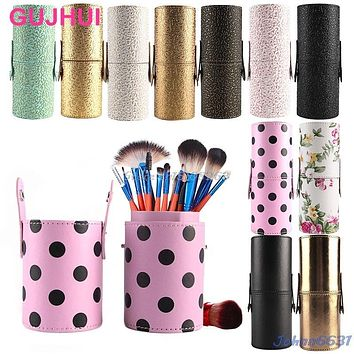 Travel Leather Makeup Brush Pen Storage Empty Holder Cosmetic Cup Case Box #Y207E# Hot Sale