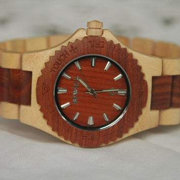 Wood Watch For Women or Men Sandal Wooden Watch Wrist Bracelet Quartz Vintage Watch With Round Dial Gift(W01006)